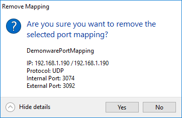 Remove port mapping.